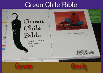 The cover and back of the Green Chile Bible.